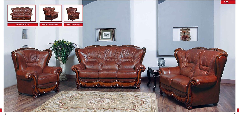 Amazon.com: Esf Look moderno sofá Set con acentos de madera ...