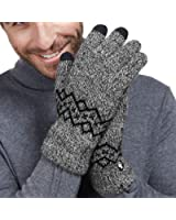 LETHMIK Wool Lined Knit Gloves Warm Winter Mens 3 Touchscreen Fingers for SmartPhones