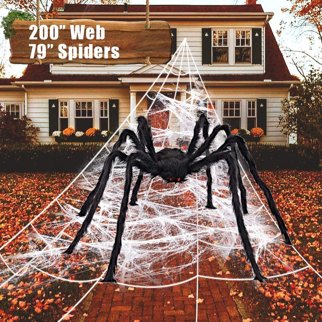 """ZOMIJOMI Halloween Decorations 200""""Spider Web with 79""""Giant Spider,Large Spider for Scary,Big Spider Web for Indoor Outdoor Halloween Decorations Yard Lawn Home Costumes Party Haunted House Décor"""