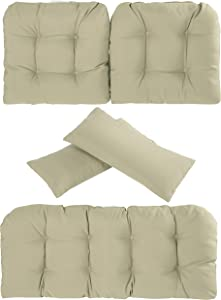 Art Leon 5 Piece Outdoor Indoor Seat and Back Cushions Set, Patio Furniture Chair Deep Seat Cushions for Wicker Loveseat Settee Bench, Light Brown