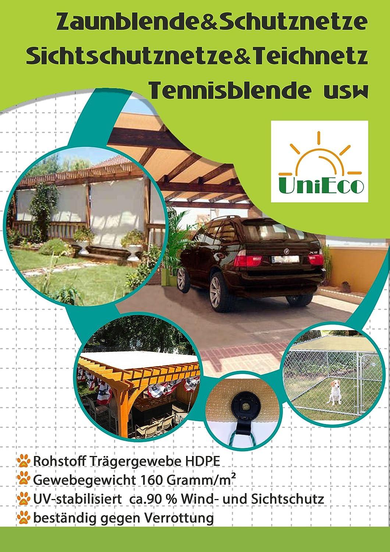 UniEco Zaunblende Sichtschutz Windschutz Sonnenschutz für Garten Balkon Sportplatz Gelände und Gewächshaus mit Klammer 1.8x30m