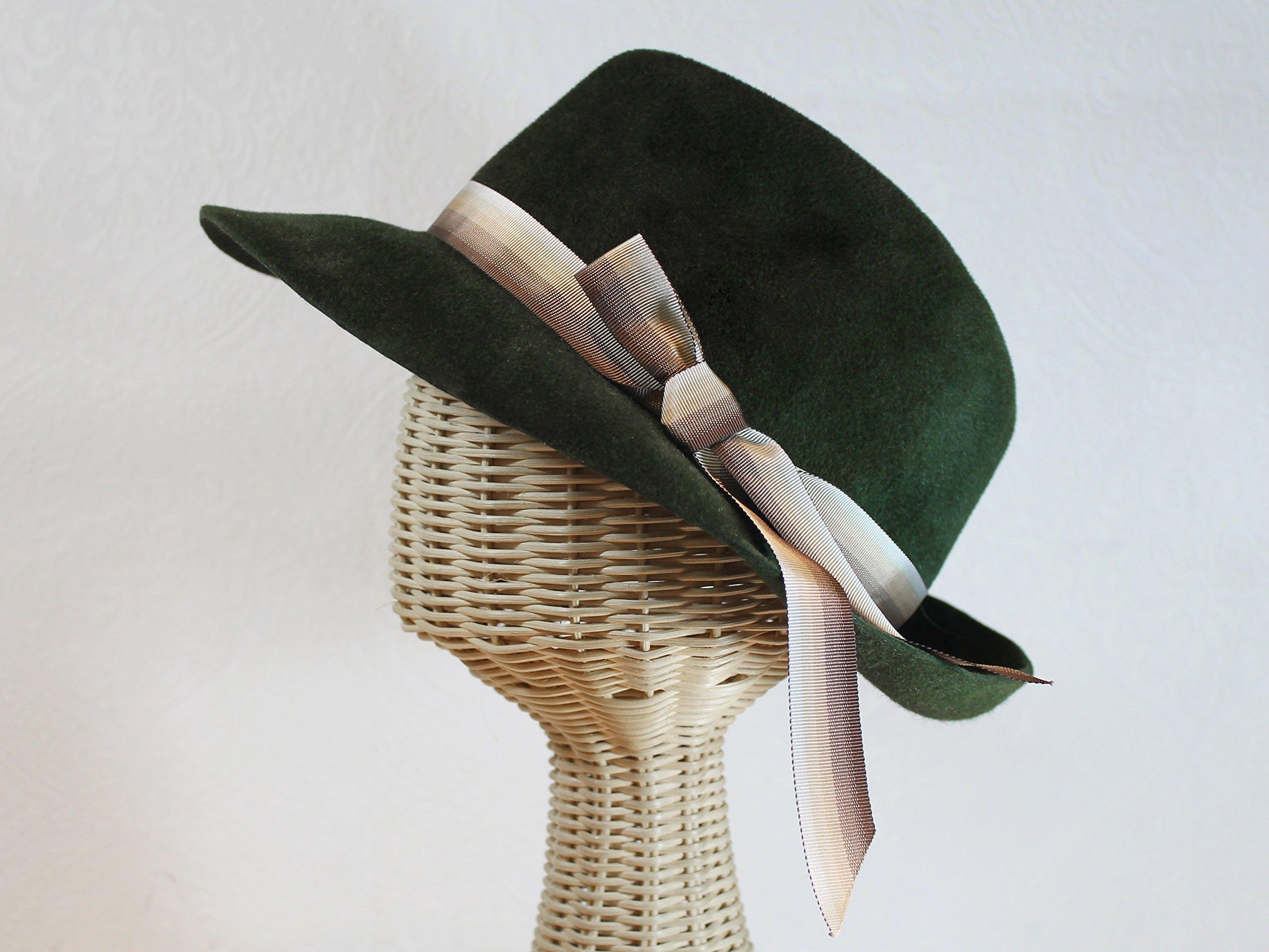 Bacall Women's Velour Felt Fedora in Loden Green