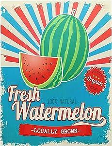 "Barnyard Designs Fresh Locally Grown Watermelon Retro Vintage Tin Bar Sign Country Home Decor 10"" x 13"""
