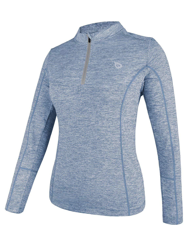 BALEAF Women's Thermal Running Shirts Long Sleeve 1/4 Zip Pullover Blue XS by BALEAF