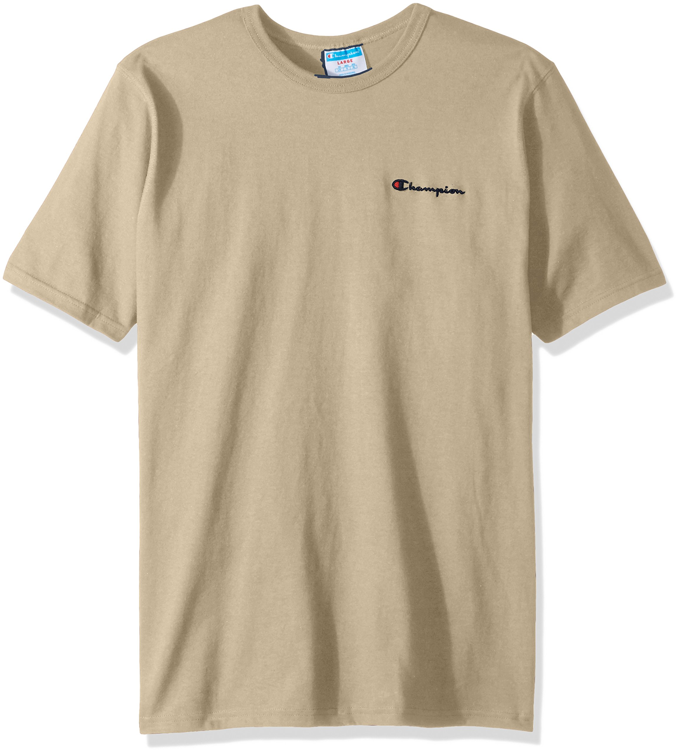 1e480d180 Galleon - Champion LIFE Men's Heritage Tee, Khaki/Left Chest Champion  Script, Large