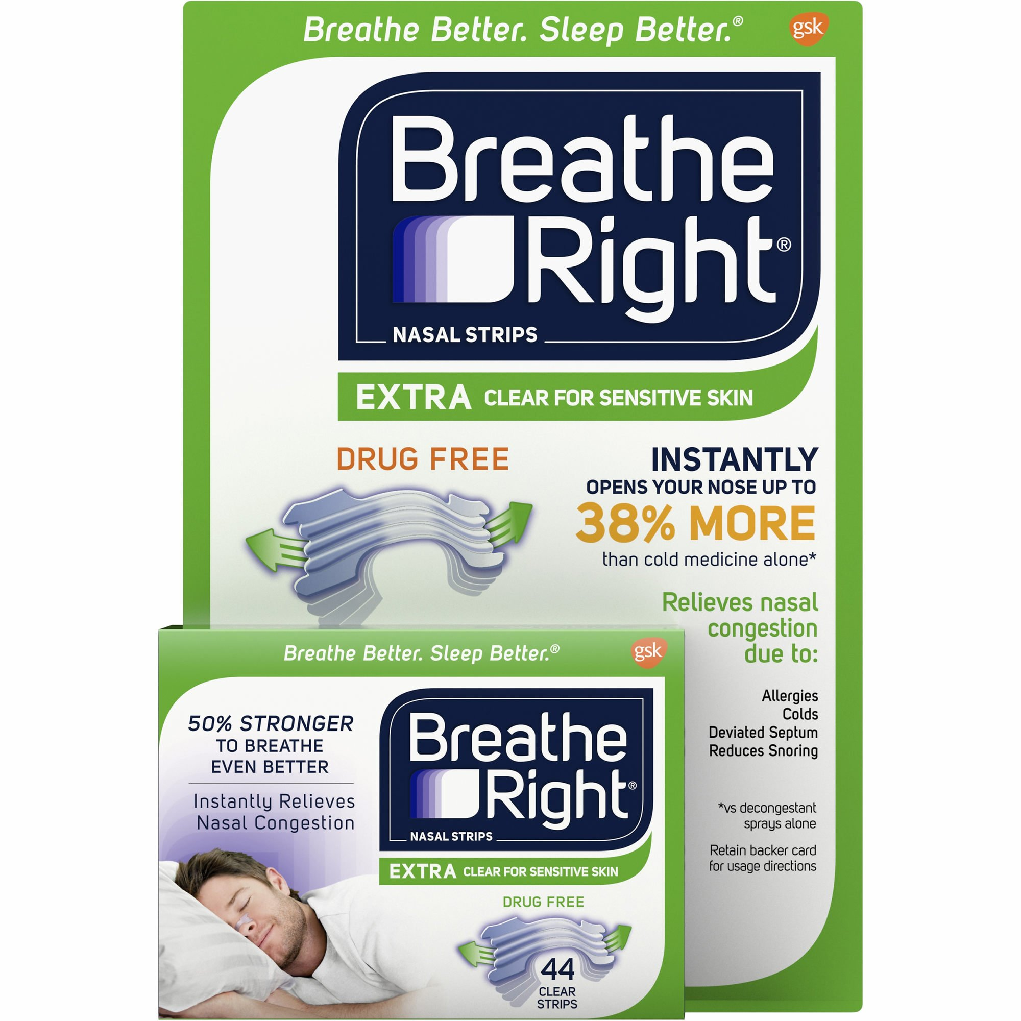 Breathe Right Extra Clear Nasal Strips, 44 ct. (pack of 6) by Breathe Right