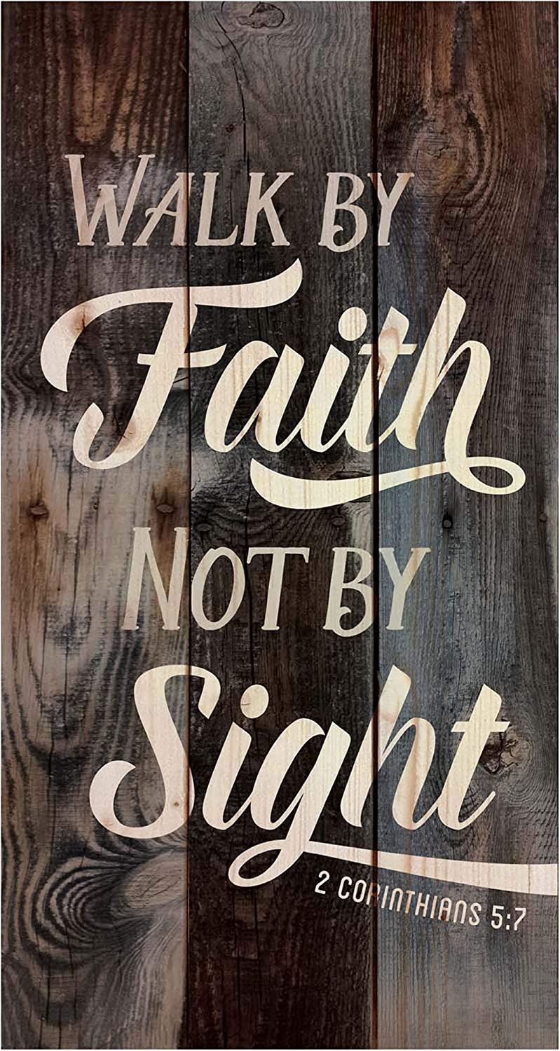 P. Graham Dunn Walk by Faith Not by Sight Brown 20 x 11 Wood Pallet Wall Art Sign Plaque