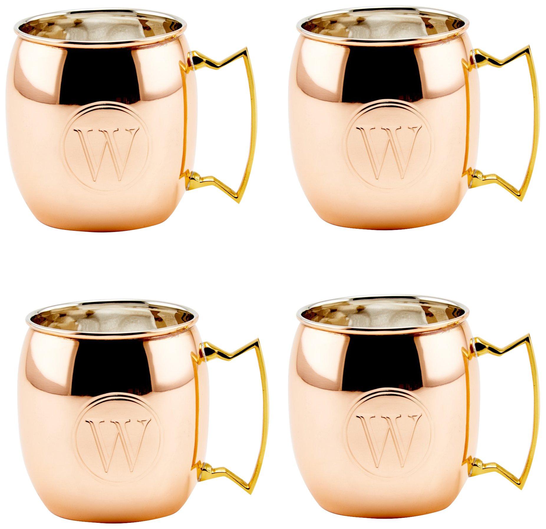 Old Dutch International OS428MW Solid Moscow Mule Mug, 16-Ounce, Monogrammed W, Copper, Set of 4