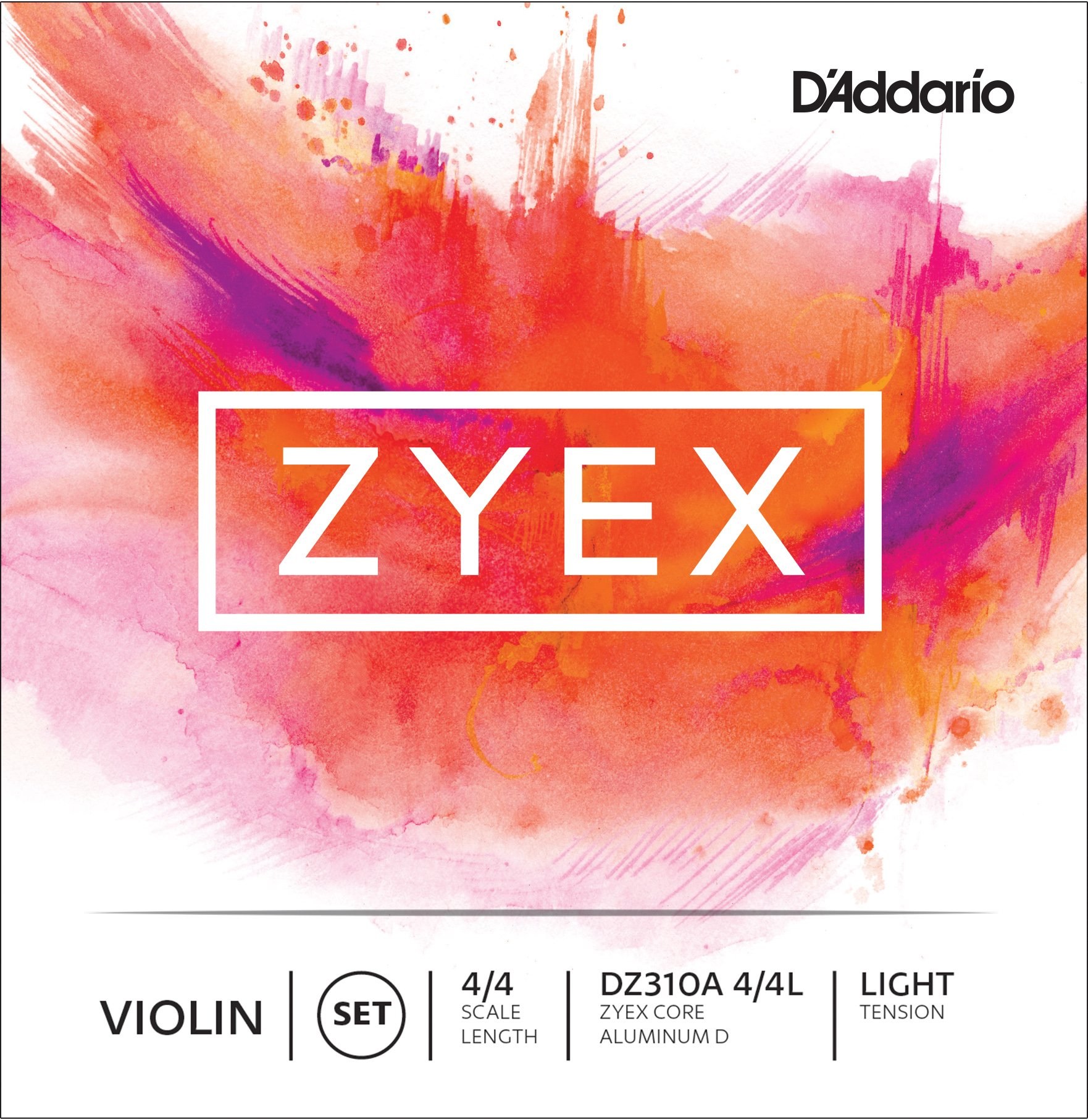 D'Addario Zyex Violin String Set with Aluminum D, 4/4 Scale, Light Tension