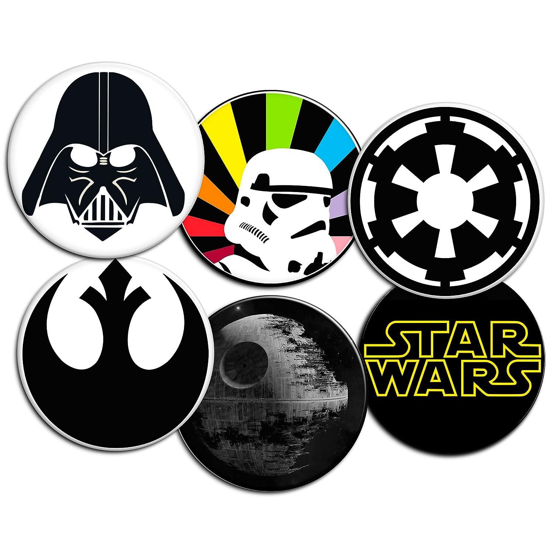 Desconocido Pack de 6 CHAPAS de 77 mm, diseño de Star Wars: Logotipo, Casco de Darth Vader, símbolo Imperial, símbolo de la Alianza, Stormtrooper y Estrella ...