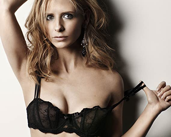 0303a4914 Image Unavailable. Image not available for. Color  Sarah Michelle Geller Black  Sheer Lace Bra Top Modeling Photo (8 inch by 10 inch