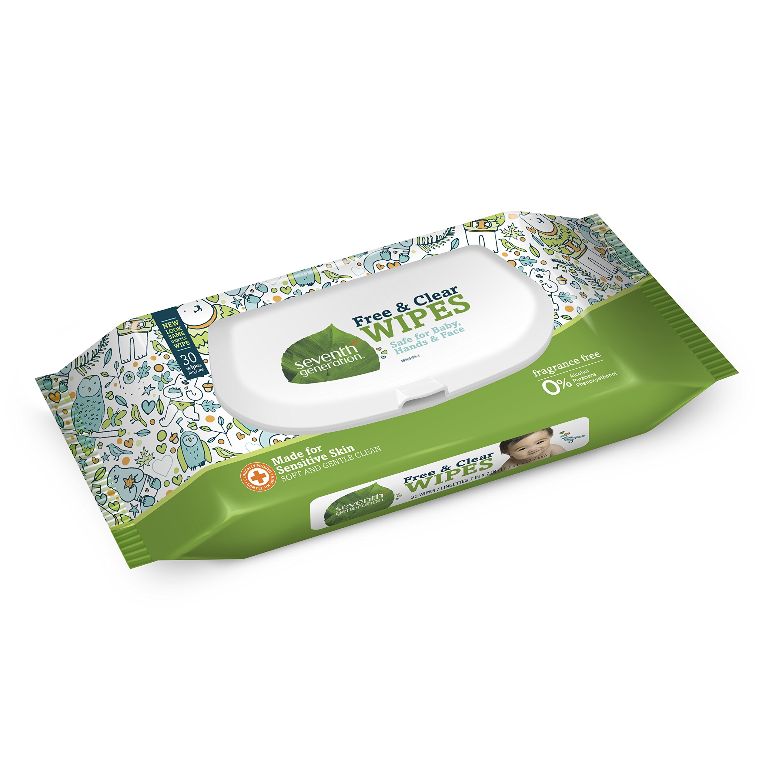 Seventh Generation Baby Wipes, Free & Clear with Flip Top Dispenser, 30 count Travel Pack