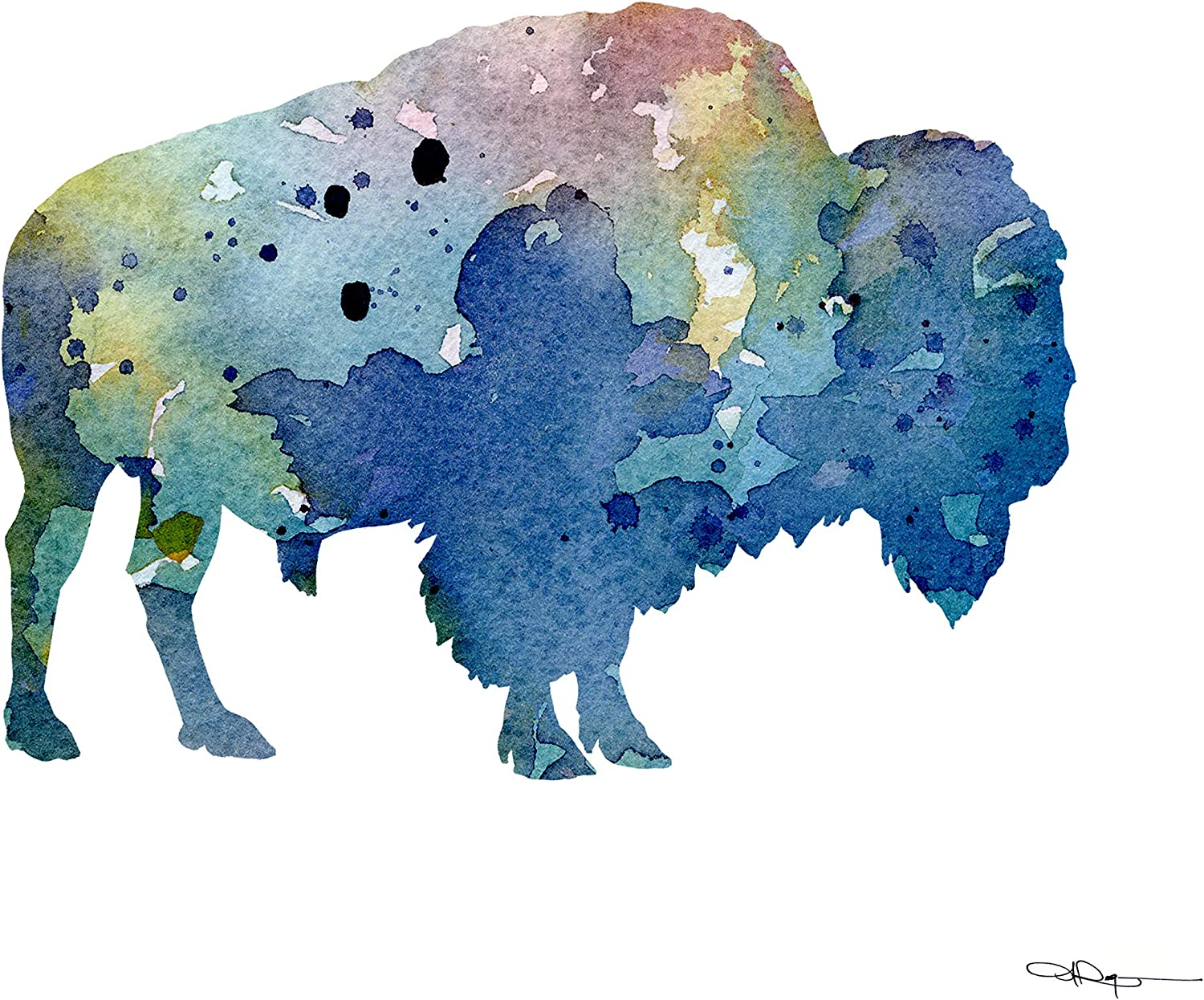 Buffalo Abstract Watercolor Painting Bison Art Print by Artist DJ Rogers