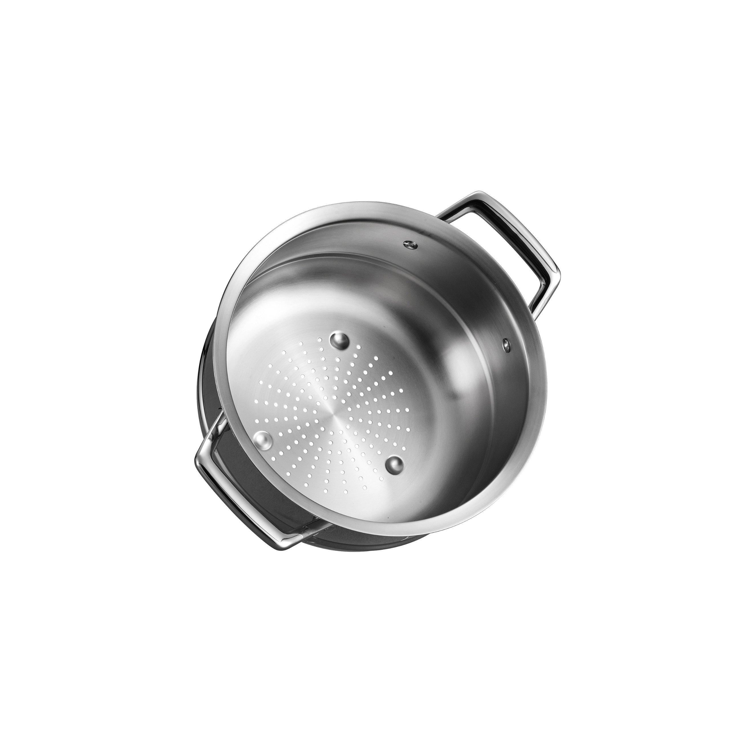 Tramontina 80101/018DS Gourmet Prima Stainless Steel Steamer Insert (24cm - Fits 5 qt Dutch Oven, 6 Qt Sauce Pot & 8 Qt Stock Pot), 10 inch, Made in Brazil