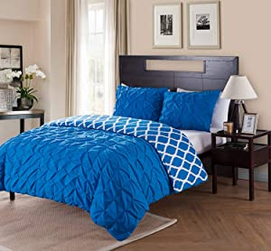 VCNY Home Scottsdale 3 Piece Microfiber Duvet Cover Set, ULTRA SOFT Reversible Duvet Cover, Wrinkle Resistant Bed Set, Queen, Navy,