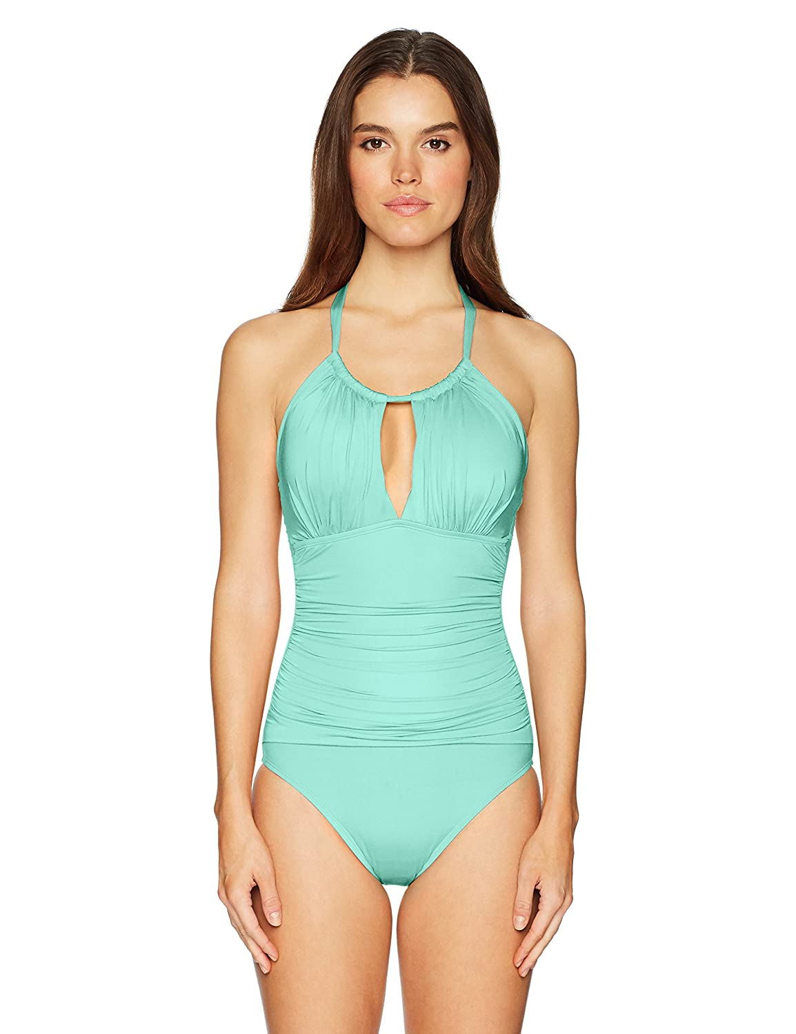 Aqua    Sexy Solids Kenneth Cole New York Women's Shirr Thing HiNeck One Piece Swimsuit