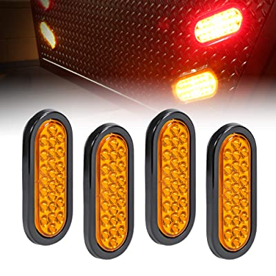 "4pc 6"" Amber Oval LED Trailer Tail Light Kit [DOT FMVSS 108] [SAE STIP] [24 LED] [Grommet & Plug Included] [IP67 Waterproof] [Park & Turn Signal] Marine Trailer Lights for Boat Trailer RV Trucks: Automotive"