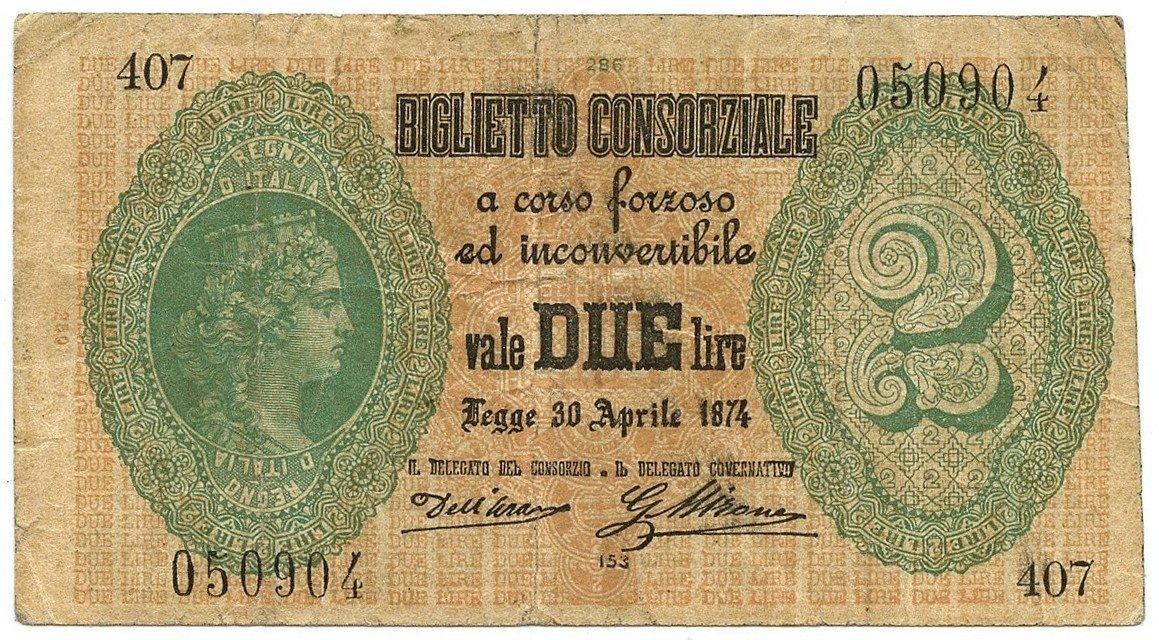 Cartamoneta  2 Lire Biglietto CONSORZIALE Regno d'Italia 30 04 1874 BB