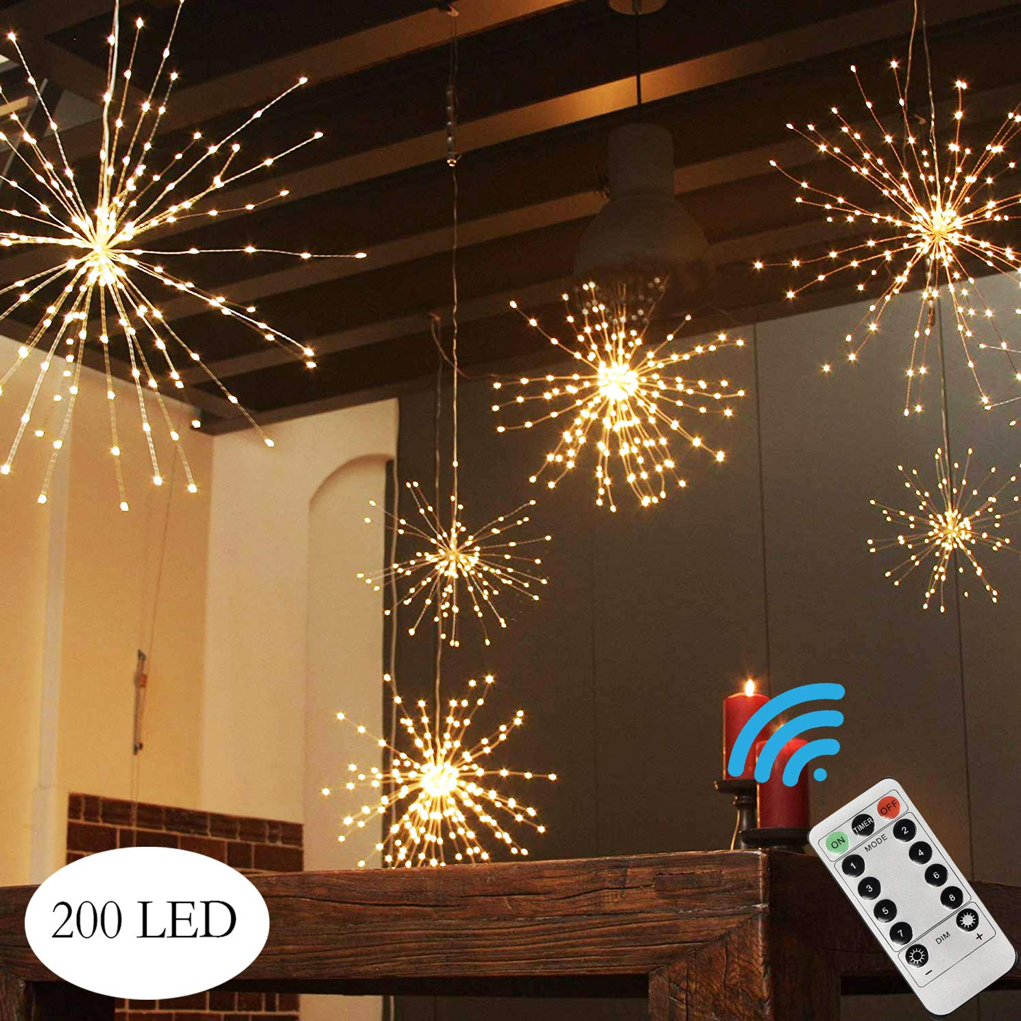PXB 200LED Hanging Lights Battery Operated Starburst Lights 8 Modes Dimmable Remote Control Waterproof Fairy Lights Copper Wire Lights Indoors Outdoors Patio Christmas Decoration Warm White