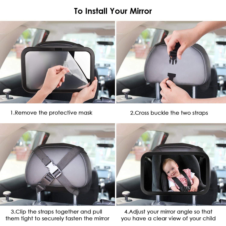 Shatterproof Car R/ückspiegel kompatibel mit meisten Auto drehbar doppelriemen 360/°schwenkbar f/ür Baby Kinderbeobachtung Voarge R/ücksitzspiegel Spiegel Auto Baby
