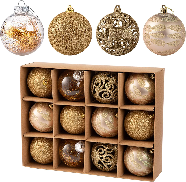 Forsylvanas Jewelry Christmas Tree Ball Ornaments Decorations - 3.15''/12pcs shatterproof Christmas Balls Set Make for Xmas Trees Wedding Party Home Decor