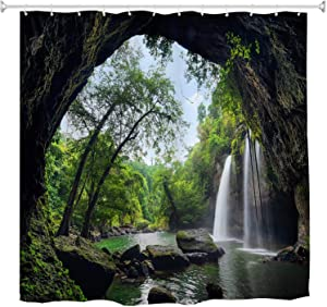 Nature Waterfall Shower Curtain Set, Summer Cave in Waterfall National Park Thailand Forest Jungle Scene Bath Curtain Green Landscape Polyester Waterproof Fabric Bathroom Decor Set, 72x72 Inch