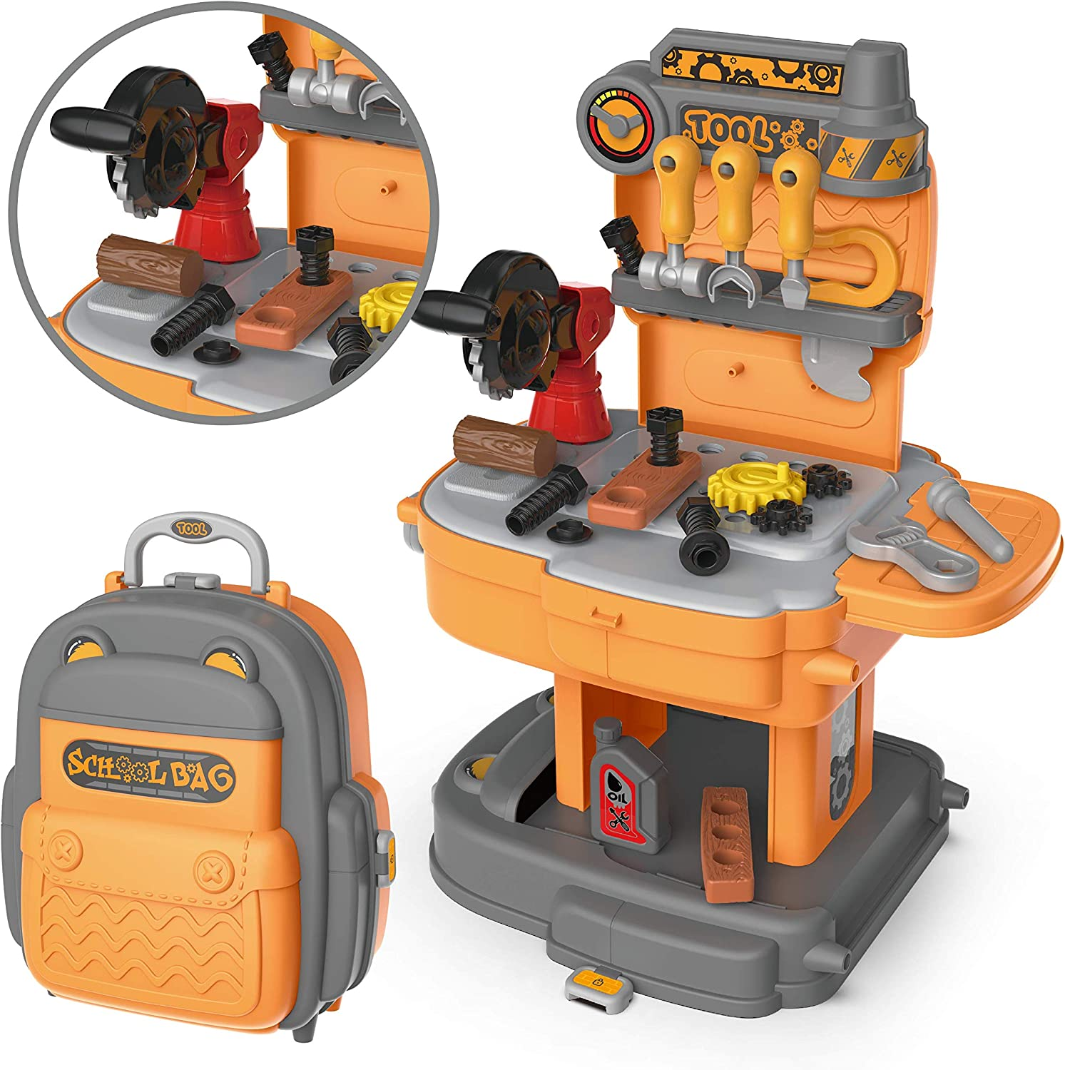 JOYIN Little Tool Workbench with Portable Backpack Kids Toy Construction Tool Toy Set Including Toys Screw Nuts Hammers and More Tool Accessories