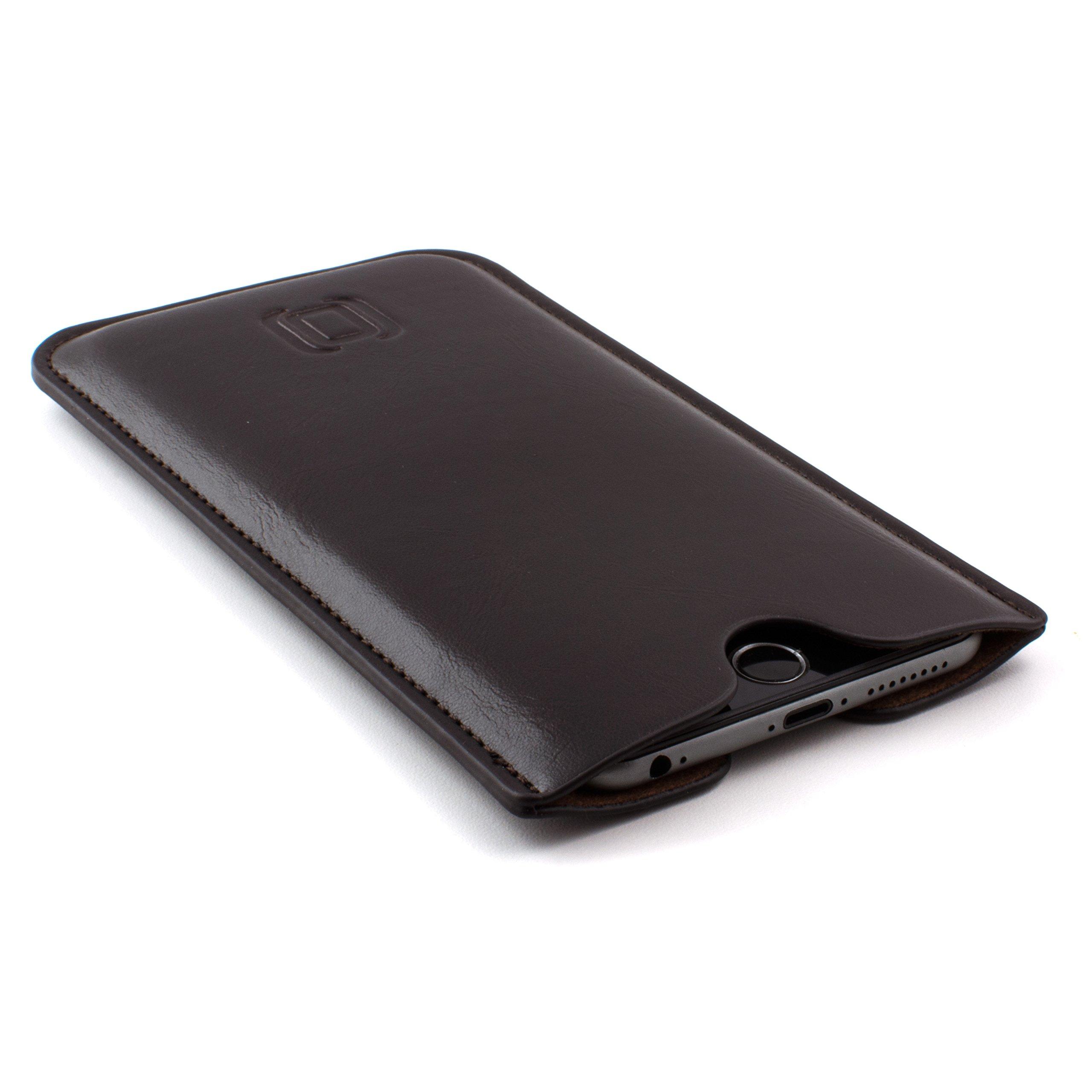 Dockem Executive Sleeve for iPhone 8 Plus, 7 Plus, 6+ & 6S+; Slightly Padded Premium Synthetic/Vegan Leather with Microfiber Lining, Slim, Simple, Slip-on Case [Dark Brown]