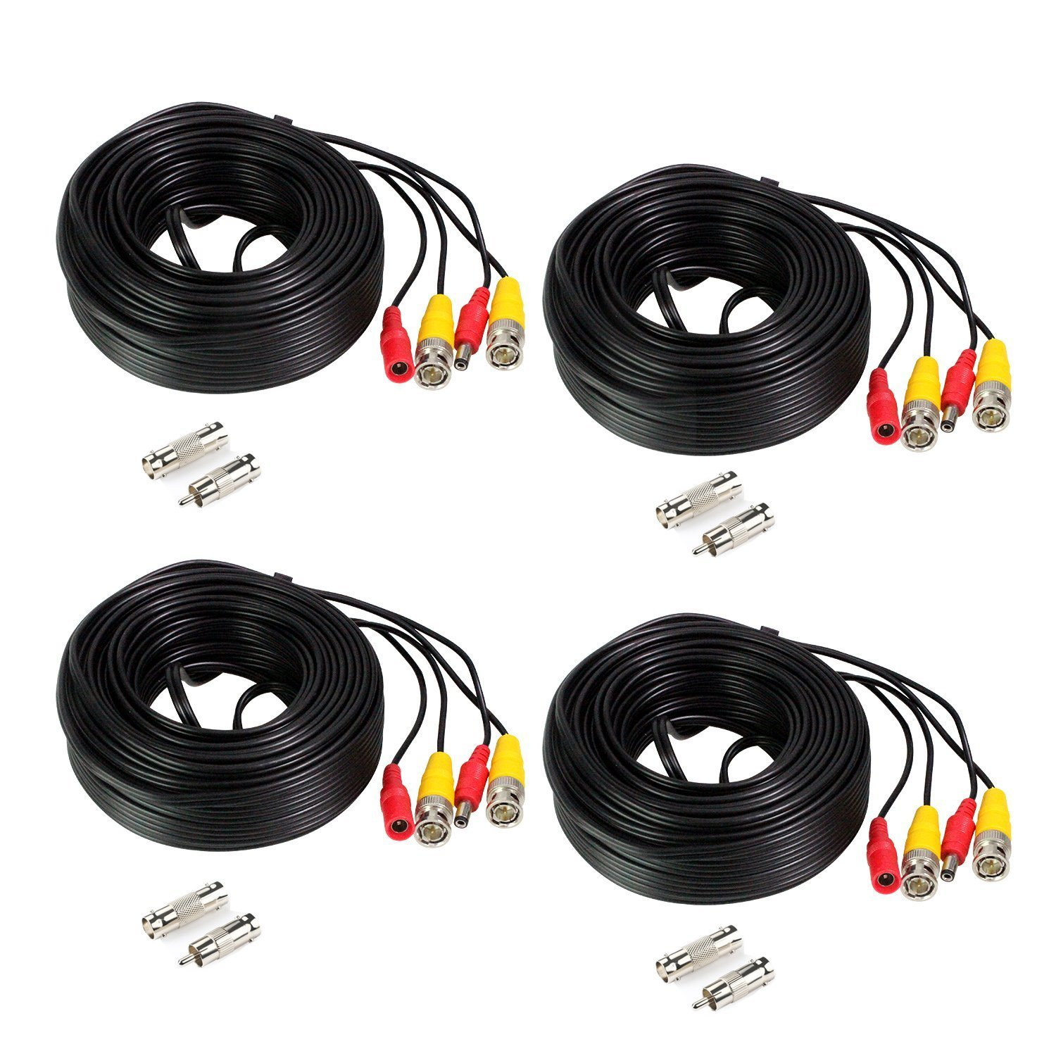 Durable Service Hykamic 4 Pack 60ft Bnc Video Power Cable Security Surveillance Camera Wiring Wire Cord For Cctv