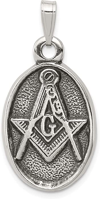 Sterling Silver Antiqued Masonic Charm