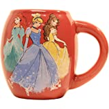 Silver Buffalo DP0144 Disney Three Princess Oval Curved Ceramic Mug, 18-Ounces