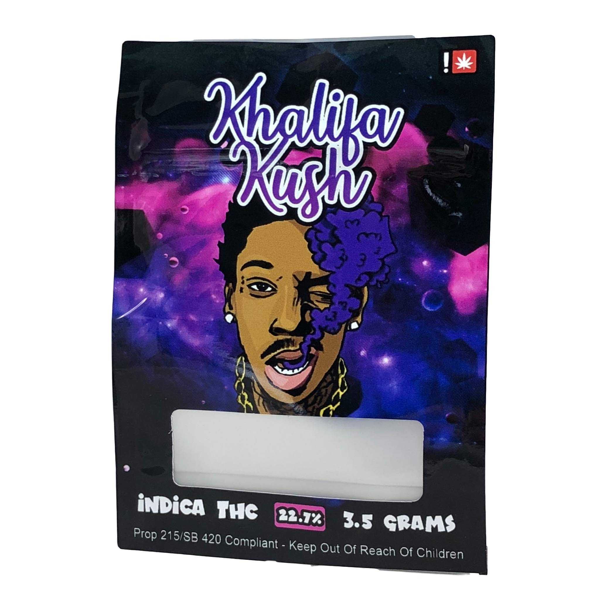 KHALIFA KUSH Stickers & Mylar Barrier Bag - 3.5 GRAM - Heat Sealable - (Zip Lock Canna Bags, Billy Kimber, Paris OG) (50)