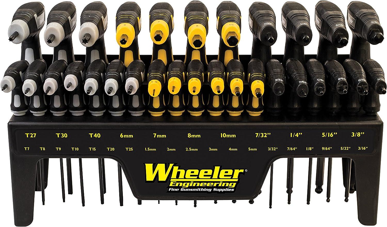 Wheeler 30 Piece SAE/Metric Hex and Torx P-Handle Set for Pistol Rifle Handgun Gunsmithing Rebuild and Maintenance