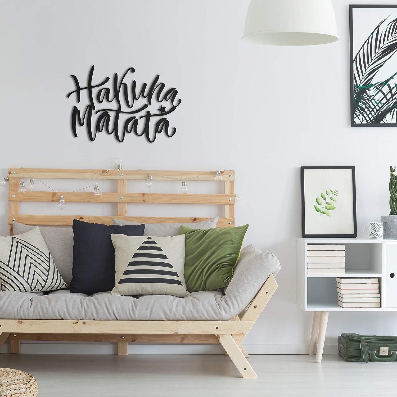 decoraci/ón de pared para sala de estar dormitorio y cocina decoraci/ón de pared negra Hakuna Matata Metal Arte de pared decoraci/ón de ba/ño Decoraci/ón de pared de metal Northshire