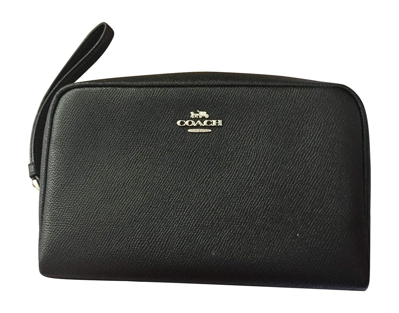 Coach Cross-Grain Leather Cosmetic Case Black Make Up Case F24797