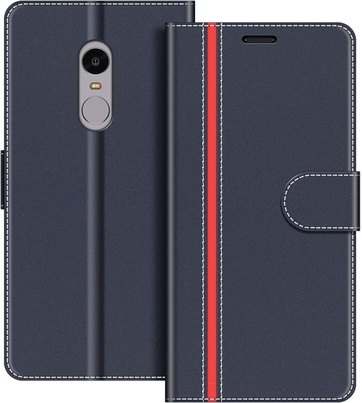 COODIO Funda Xiaomi Redmi Note 4 con Tapa, Funda Movil Xiaomi Redmi Note 4, Funda Libro Xiaomi Redmi Note 4 Carcasa Magnético Funda para Xiaomi Redmi Note 4, Azul Oscuro/Rojo: Amazon.es: Electrónica