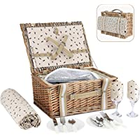 G GOOD GAIN Willow Picnic Basket Set for 2 Persons with Large Insulated Cooler Bag,Wicker Picnic Hamper for Camping…