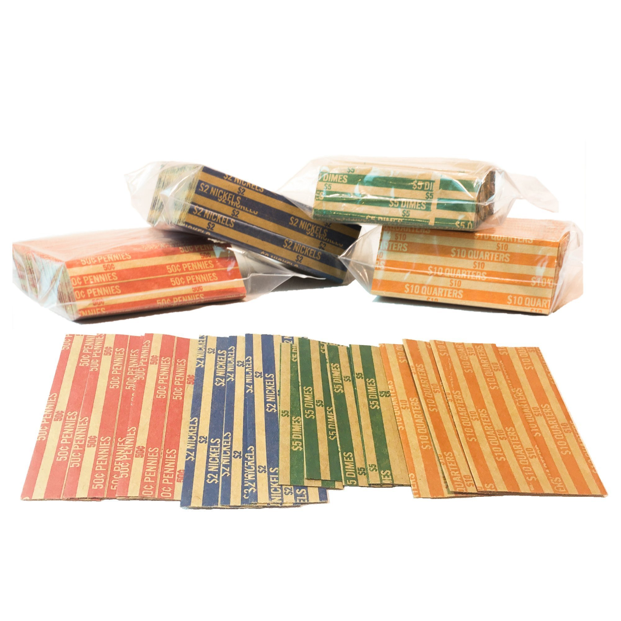 J Mark Neatly-Packed Flat Coin Roll Wrappers Extra Pennies (Quarters, Dimes, Nickels, Pennies), ABA Striped Kraft Paper Coin Roll Wrappers, Includes Free J Mark Deposit Slip, (1,000-Pack USD)