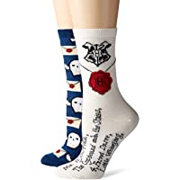 Harry Potter Hedwig Letter to Hogwarts Juniors/Womens Crew Socks 2 Pair Pack