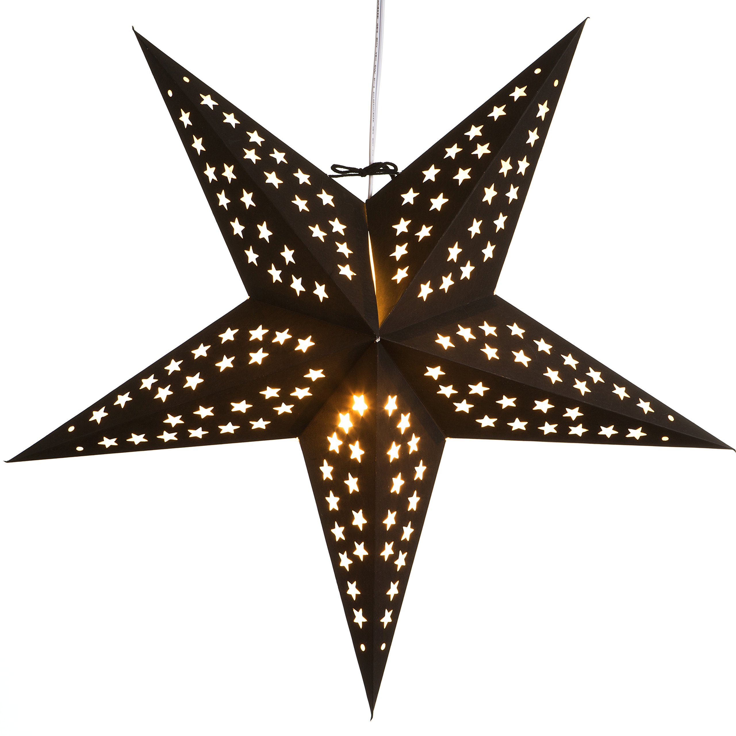 Paper Star Light Lamp Lantern with 12 Foot Power Cord Included (Black)