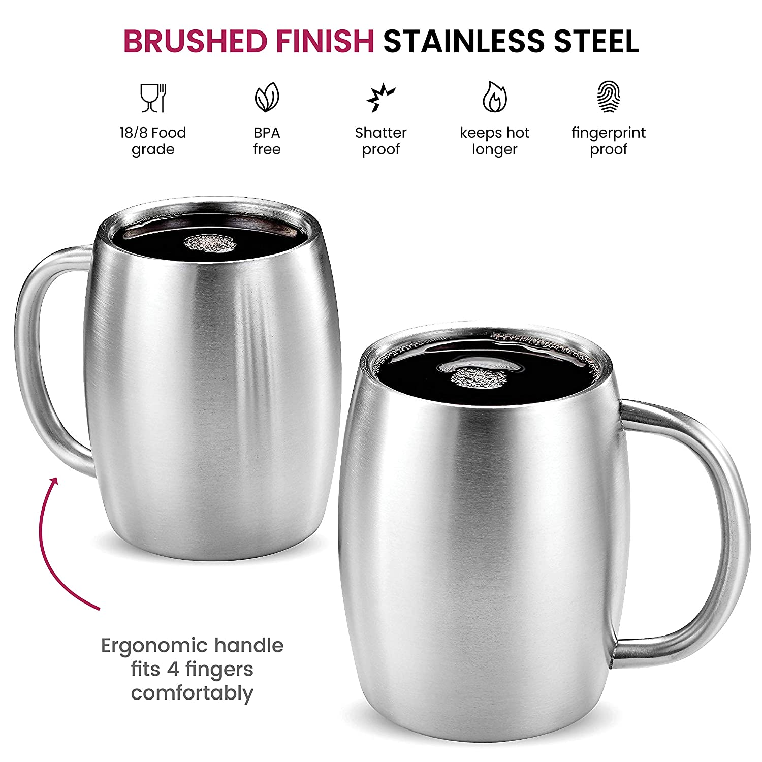 Insulated Stainless Steel Coffee Mug with Lid and Handle