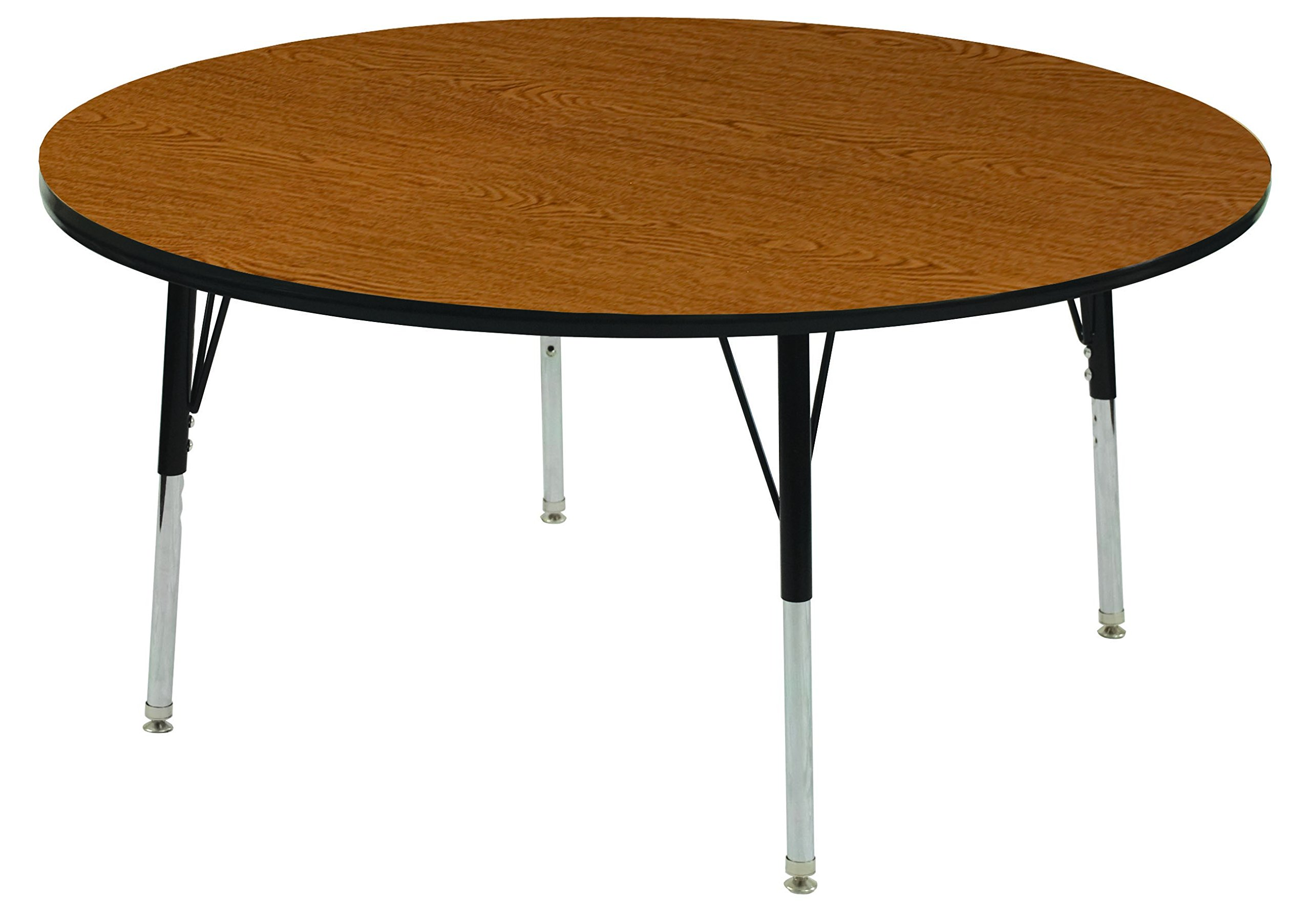 ECR4Kids T-Mold 60'' Round Activity School Table, Standard Legs w/ Swivel Glides, Adjustable Height 19-30 inch (Oak/Black)