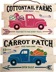 Greenbriar Set of 2 Easter Signs Glitter Trucks, Cottontail Farms and Carrot Patch Easter Decor for The Home