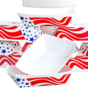 Heavy Duty, Grease Resistant Mini.5 Lb US Flag Paper Food Tray 200 Pack. Recyclable Coated Paperboard Basket for Carnivals, Concession Stands or Fairs. Serve Fries, Popcorn and Ice Cream. USA Made