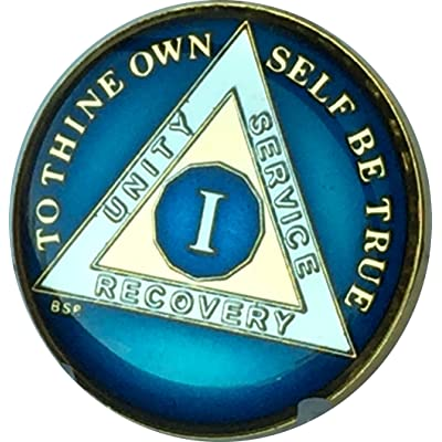 1 Year Midnight Blue AA Medallion Chip Tri Plate Gold & Nickel Plated Serenity Prayer