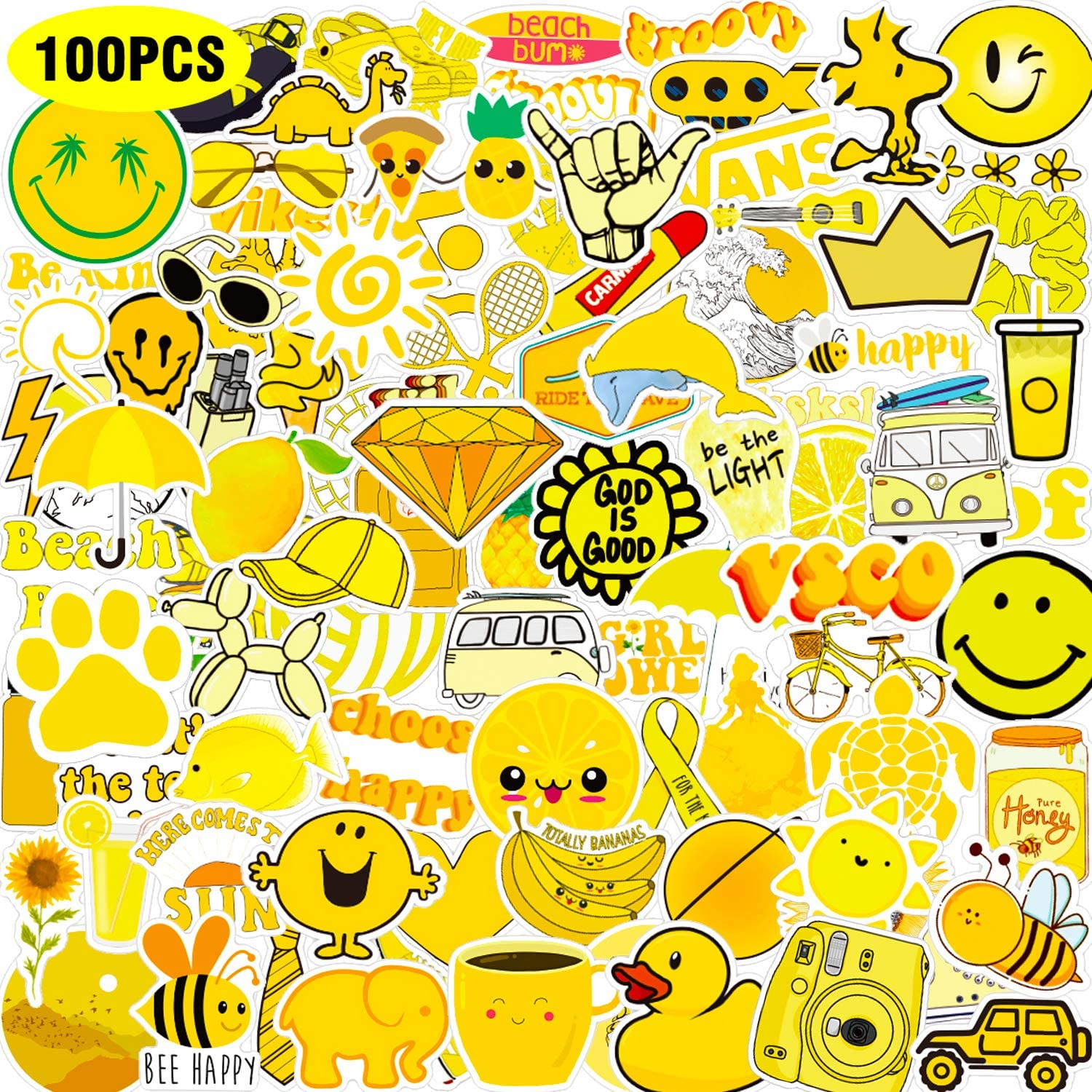 JOINBO 100 Pcs Not Repeating Yellow VSCO Stickers for Water Bottles Cute,Waterproof,Aesthetic,Trendy Stickers for Kids,Girls Perfect for Waterbottle,Laptop,Phone,Travel Extra Durable Vinyl