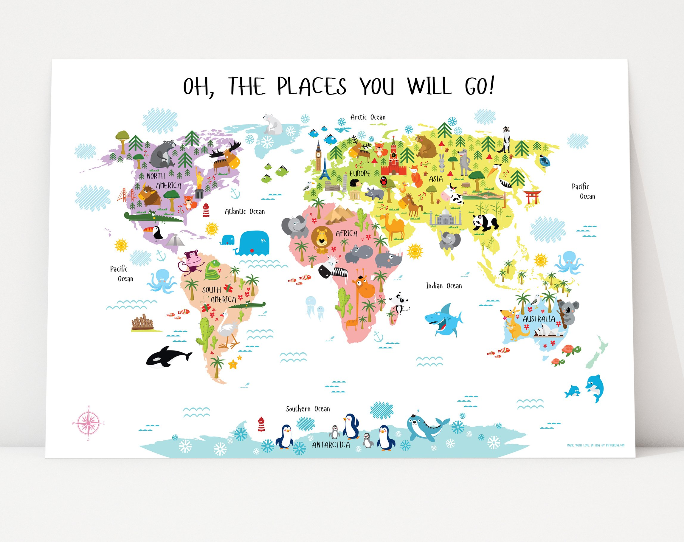 Children's World Map Poster, Nursery Decor, Oh, The Places You Will Go Decorations, Maps for Kids, Gifts for Toddlers, Baby Shower Gift for Girls (54''W x 36''H, Pink) by Pictureta