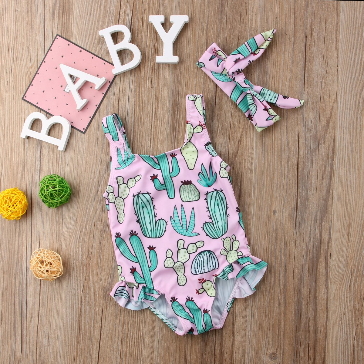 b9c83ef07a367 ... ITFABS Newborn Baby Girl Cactus Swimsuit Ruffles Bathing Suit Bikini  Floral Swimwear with Headband for Baby