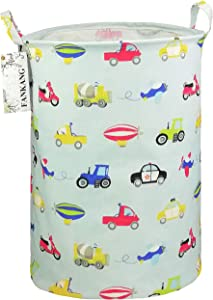 FANKANG Storage Bins Nursery Hamper Canvas Laundry Basket Foldable with Waterproof PE Coating Large Storage Baskets, Office, Bedroom, Clothes, Toys Baby Shower Basket (Car)
