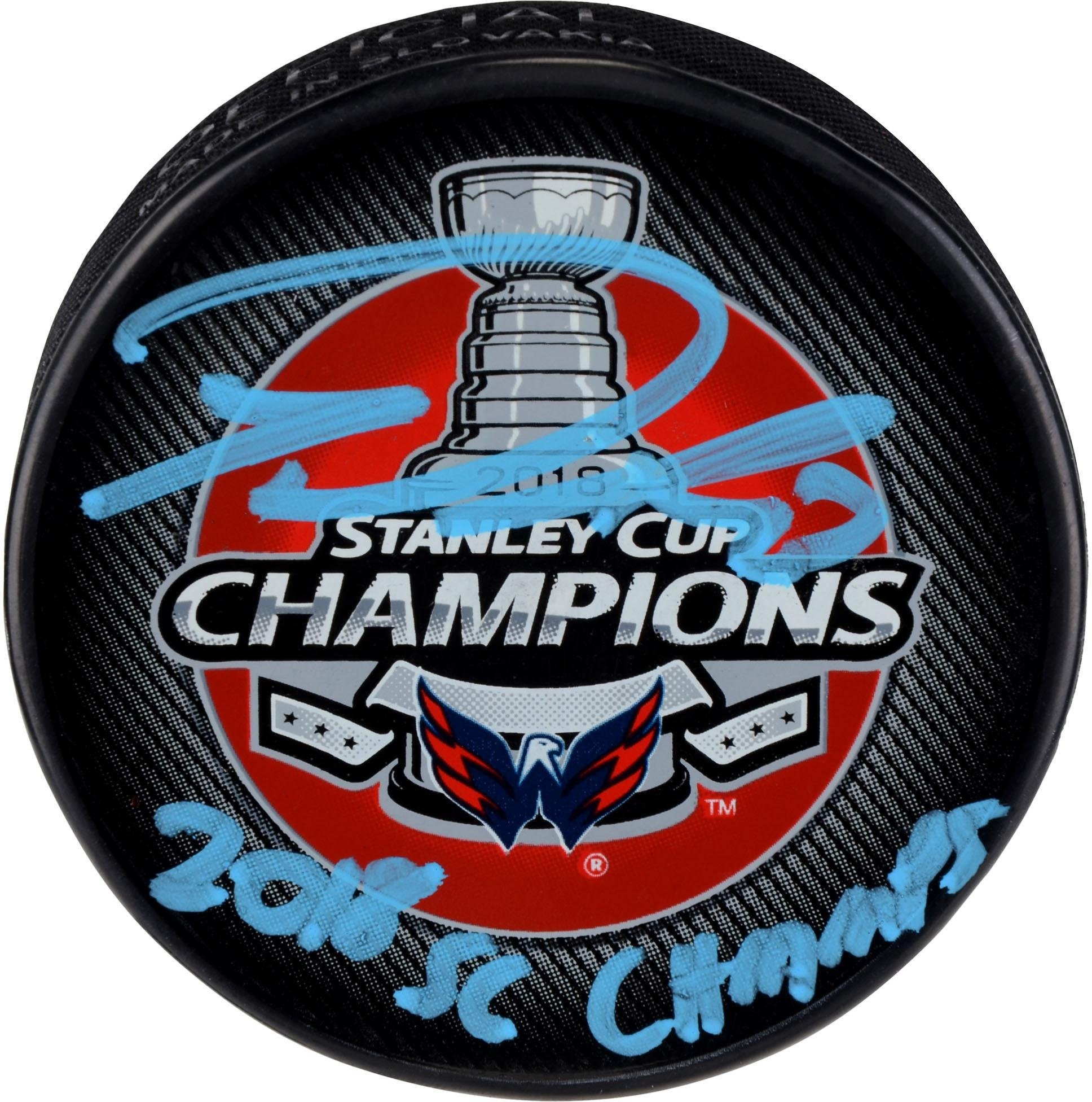 Tom Wilson Washington Capitals 2018 Stanley Cup Champions Autographed Stanley Cup Champions Logo Hockey Puck with 2018 SC Champs Inscription Fanatics Authentic Certified
